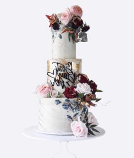 Трехъярусный свадебный торт без мастики 14 Фото