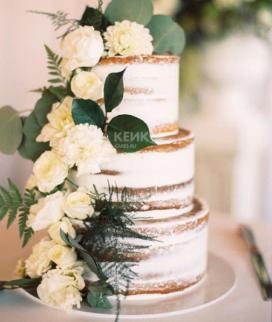 Трехъярусный свадебный торт без мастики 15 Фото