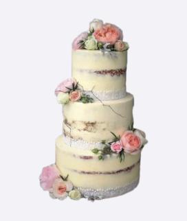 Трехъярусный свадебный торт без мастики 2 Фото