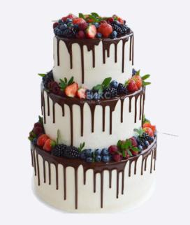 Трехъярусный свадебный торт без мастики 6 Фото