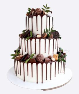 Трехъярусный свадебный торт без мастики 7 Фото