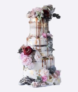 Трехъярусный свадебный торт без мастики 8 Фото