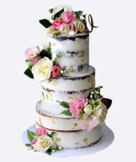 Трехъярусный свадебный торт без мастики 9 Фото
